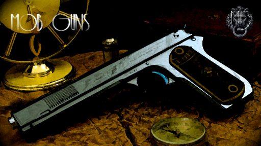 """MOB GUNS """"BIG AL"""" Colt 190 Long Slide Blue background"""