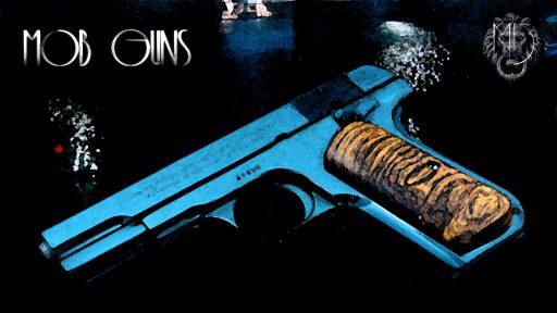 "MOB GUNS ""BOGART"" COLT Model M 1903 Pocket Hammerless background"