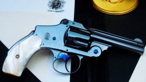 "MOB GUNS ""LUCKY"" S&W New Departure LUCKY Blue Mother of Pearl fine print"