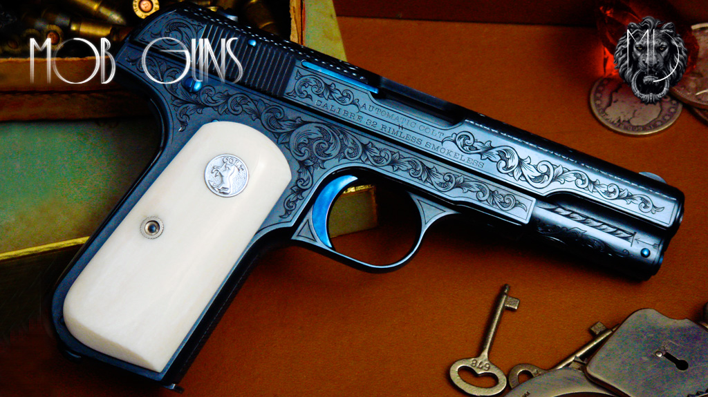 "MOB GUNS ""BOGART"" COLT Model M 1903 Pocket Hammerless Master Engraved Ivory Blue"