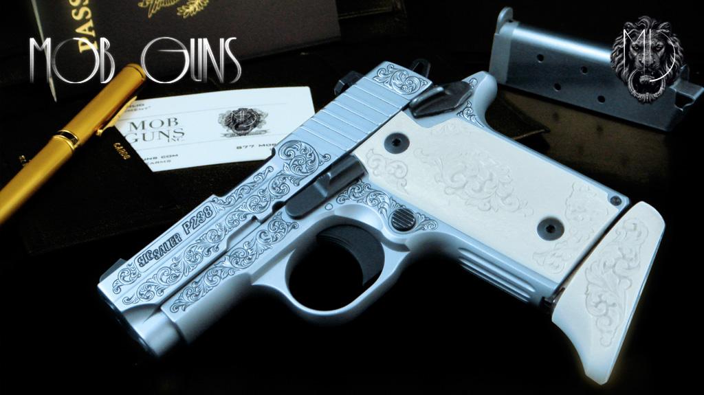MOB GUNS Sig Sauer P238 Engraved Satin Ivory