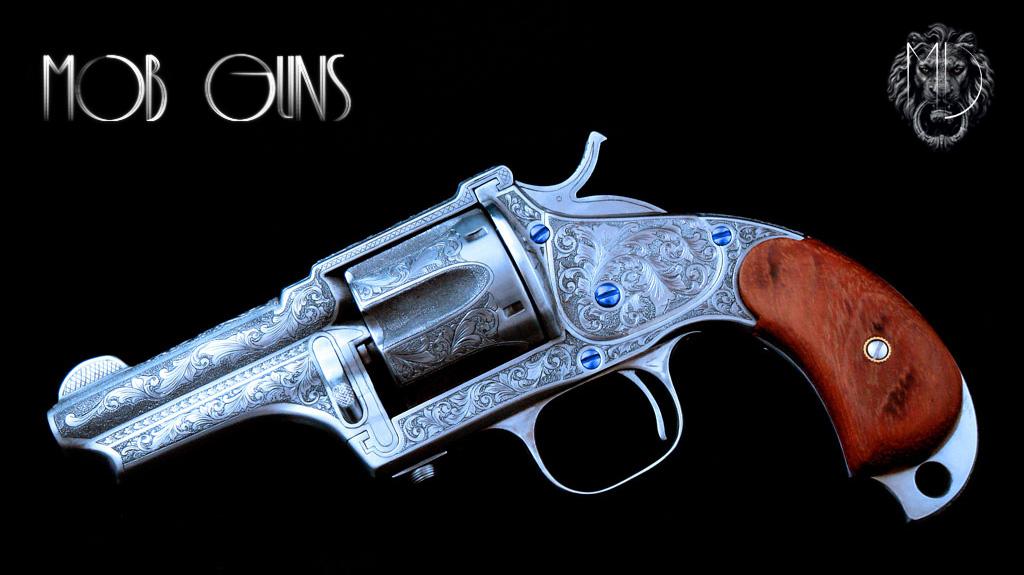 MOB GUNS Merwin Hulbert Pocket Army 44/40 French Grey Engraved with Cabochon